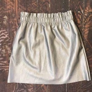 Vegan Leather Metallic Mini Skirt